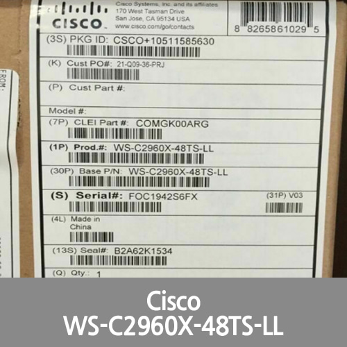 [Cisco] *New* WS-C2960X-48TS-LL Catalyst 2960-X 48 GigE, 2 x 1G SFP, LAN Lite