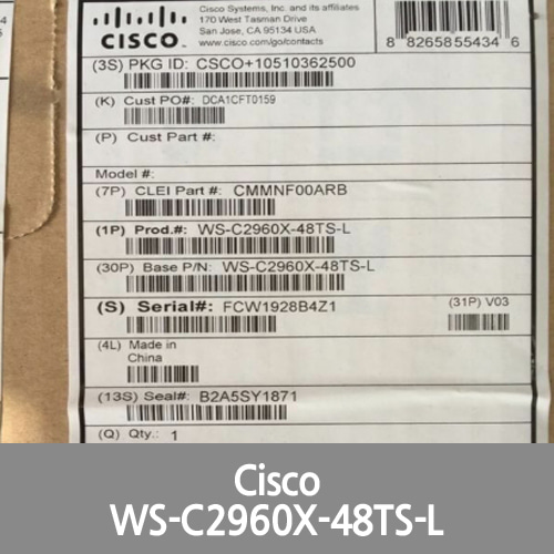[Cisco] *New* WS-C2960X-48TS-L Catalyst 2960-X 48 GigE, 4 x 1G SFP, LAN Base